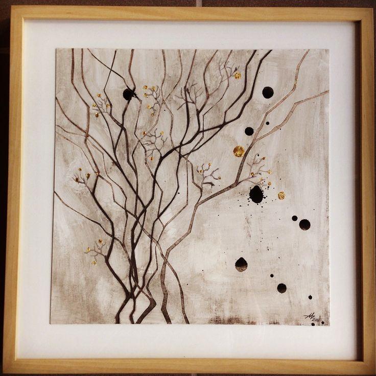 Paper #artwork #handmade by #aharkes. 50x50 cm. With Real #goldleaf. #kunstverk #kunst #annemetteharkes #boligindretning #boliginspiration 800 DKR