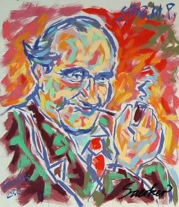 Robert Storm Petersen in a lush post impressionistic portrait, painted in the characteristic style of Jorn Saerker with wild energetic brush strokes.