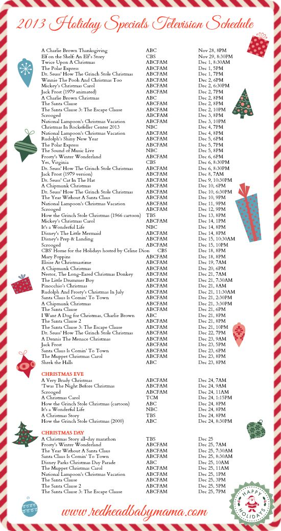 2013 Holiday Specials Television Schedule | Television, Holidays and