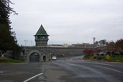 Folsom State Prison, Folsom California.  Opened in 1880's Folsom was one of the first maximum security prisons. The prison gained popularity when Johnny Cash, released his hit about the facility in the 60's..