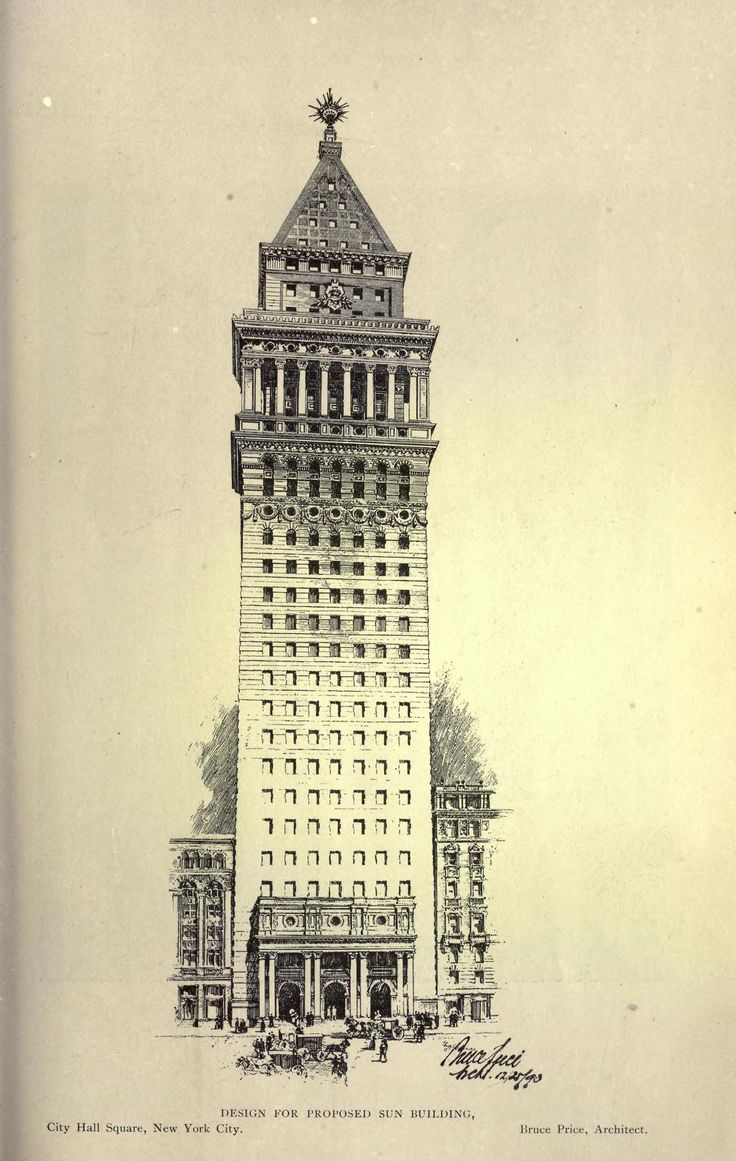 Design for a proposed Sun Building on City Hall Square, New York City