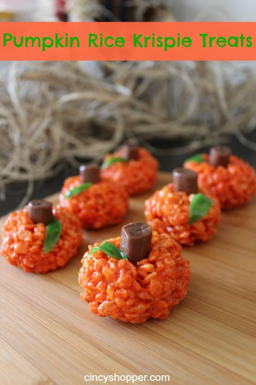 Pumpkin Rice Krispie Treats Recipe. These are a hit EVERY Year with my kiddos. Great for Halloween Parties too!