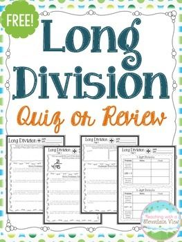 FREE Division Quiz or Review with Answer Key Included. Use this as a review or as your quiz for your division unit!