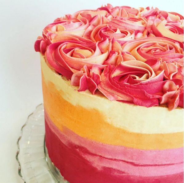 A peachy ombre cake.