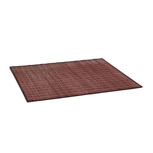 Relaxdays Badvorleger Bambus BxT: 100x80 cm Badeteppich aus Holz mit rutschhemmender Unterseite als praktischer Duschvorleger aus nat�rlichem Bambus, Stoff in verschiedenen Farben f�rs Bad, braun