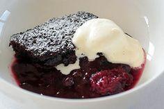 Self-saucing chocolate and Black Doris plum pudding