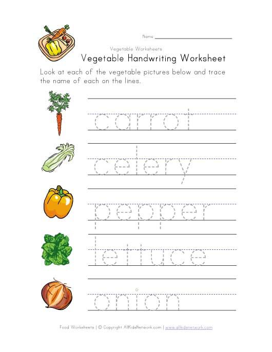 Vegetable Handwriting Worksheet