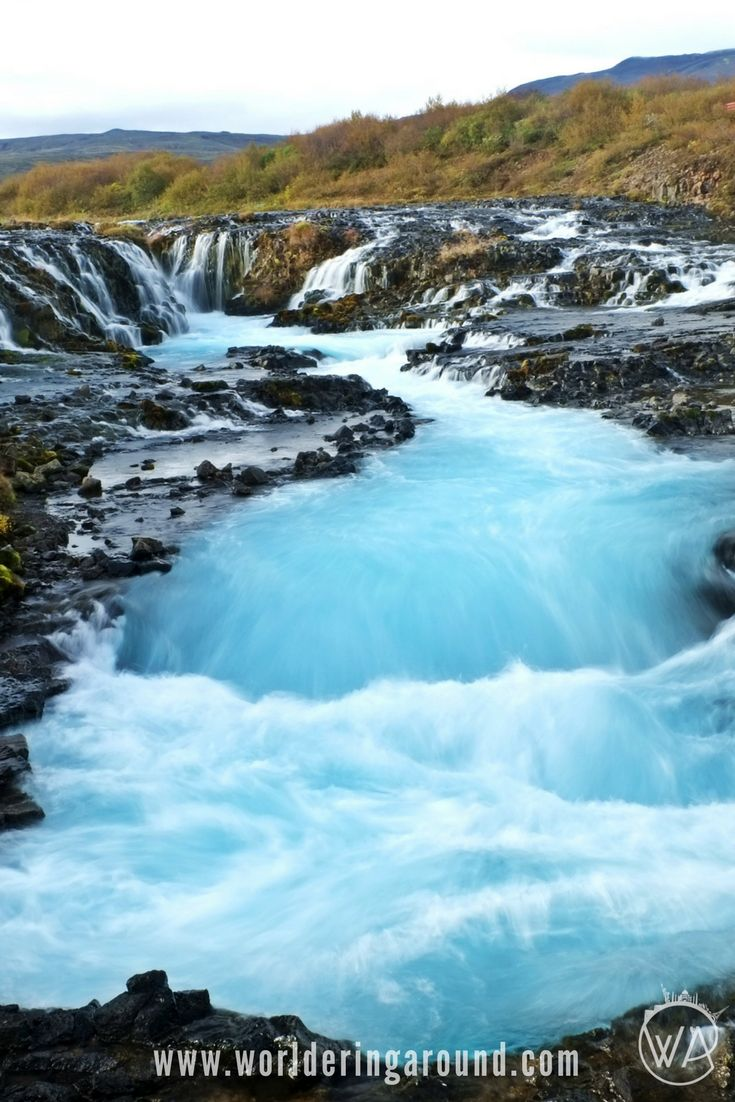 Iceland off the beaten path with map of the hidden gems to discover. One of the unique places in Iceland is Blue Waterfall with unusual colour of water. Check how to find hidden spots in Iceland with the map and descriptions. | Worldering Around
