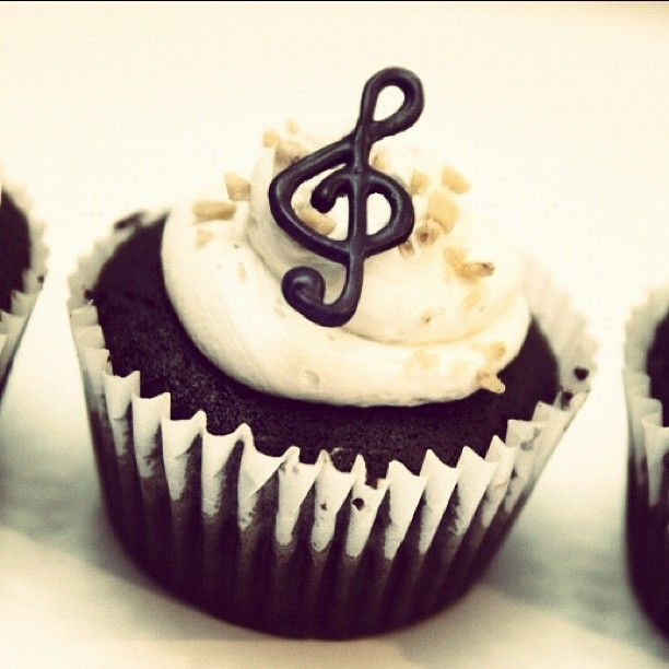 Look! The cupcakes I made for choir ended up on Pinterest!!! (The idea, not the actual cupcake)!! #treble #cupcake #chocolate