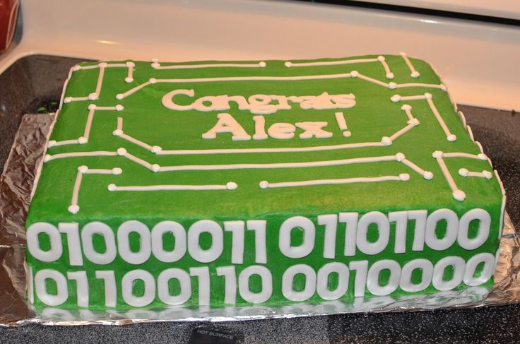Graduation cake for computer engineer grad. Circuit board with class of 2012 written in binary code