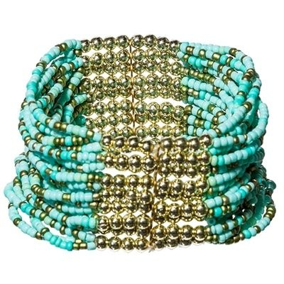 Aqua Stretch Beaded Bracelet