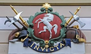 """This is Invicta, the white horse of Kent. As a symbol it dates back to the Jutish kings of Kent in the 6th century. The armies of Hengist and Horsa are believed to have carried this on their banner when they landed on these shores in 450. It lives on in the logo of the county council and in numerous images and statues around the county. As an exiled Mancunian I'm fond of Invicta, it means """"Undefeated"""", because it's a proud symbol of a particular area and it has a long and distiguished…"""