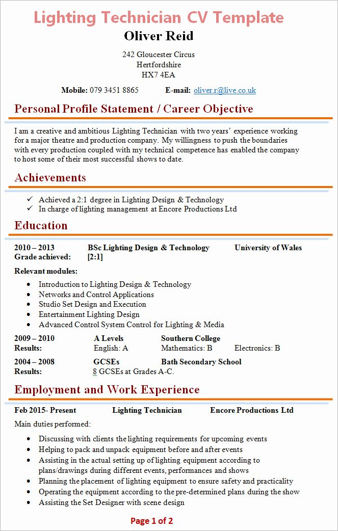 Tech Theatre Resume Template Best Of Lighting Technician Cv Template In 2020 Resume Template Cover Letter Example Templates Best Resume Template