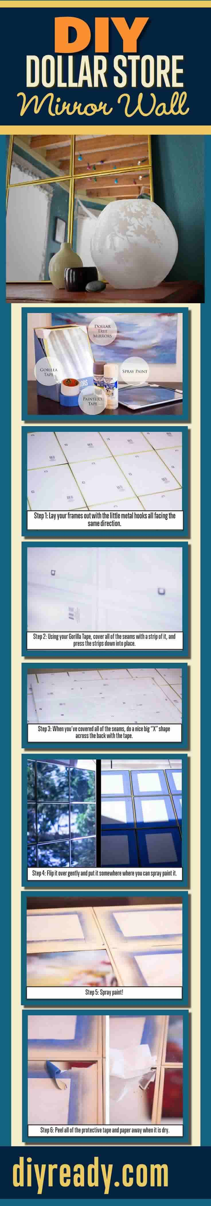DIY Dollar Store Mirror Wall Tutorial - Easy DIY Projects Ideas for Home Decor on a Budget http://diyready.com/dollar-store-crafts-diy-mirror-wall/
