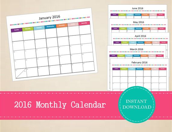 20 best 2016 Printable Calendars images on Pinterest Organizers - printable monthly calendar