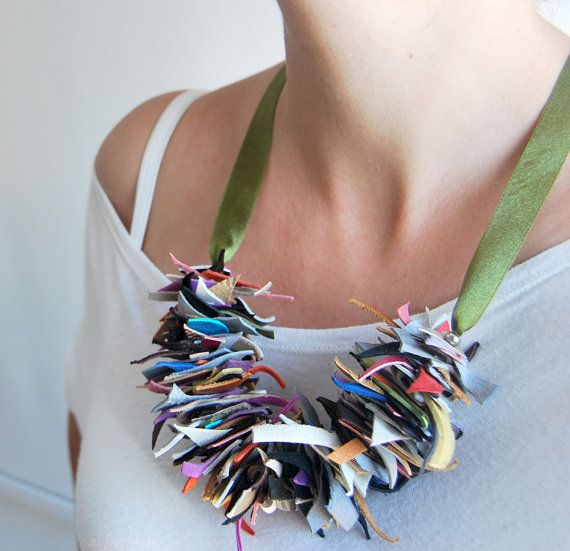 Statement leather necklace colorful jewelry by stellachili on Etsy