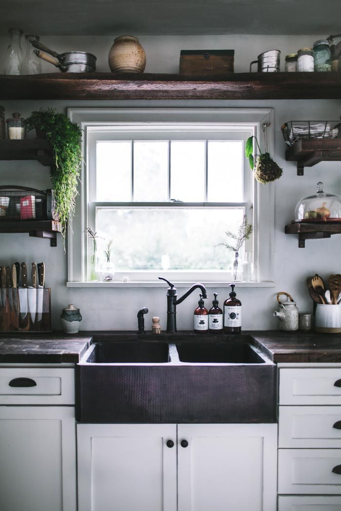 A Kitchen Remodel Fit for a Cookbook - love the dark farmhouse sink and exposed plank open shelf /