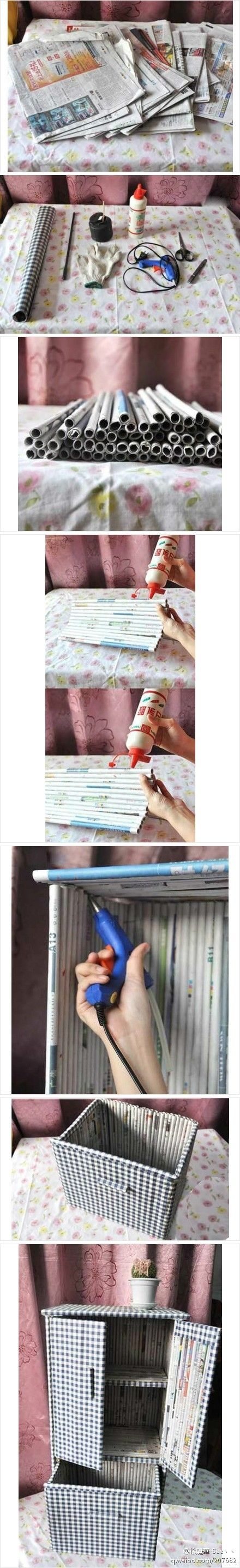 DIY newspaper furniture. Great way to recycle newspaper.