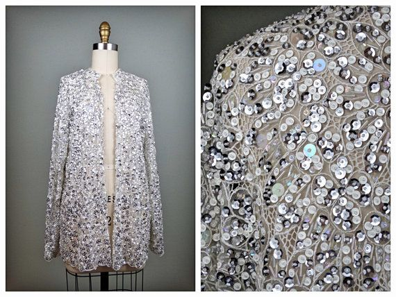 VTG Sheer perline Cardigan con paillettes e Lustrini bianco e argento puro Open Top / impreziosito devono essere compensata camicetta aperta L