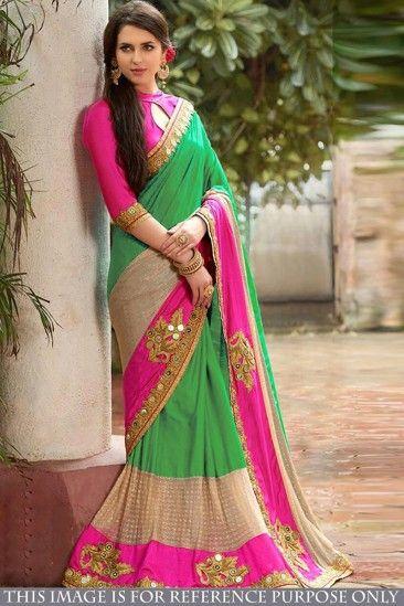 Sari en soie Banglori verte avec blouse en soie Banglori - DMV15564 pour les femmes en ligne  #Designersaree #banglorisoie #vetementsdemariage #vêtementspourfemmes #lamodesfemmes #achatsenligne
