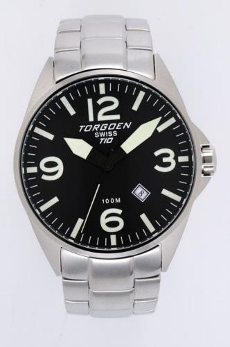 Torgoen T10204 stainless steel watch with black face and yellow luminescent hands & markers.
