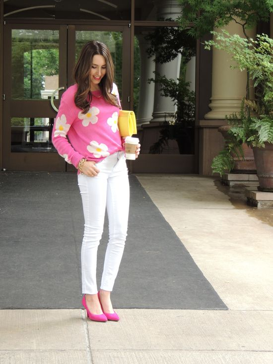 Hot Pink Top + White Jeans