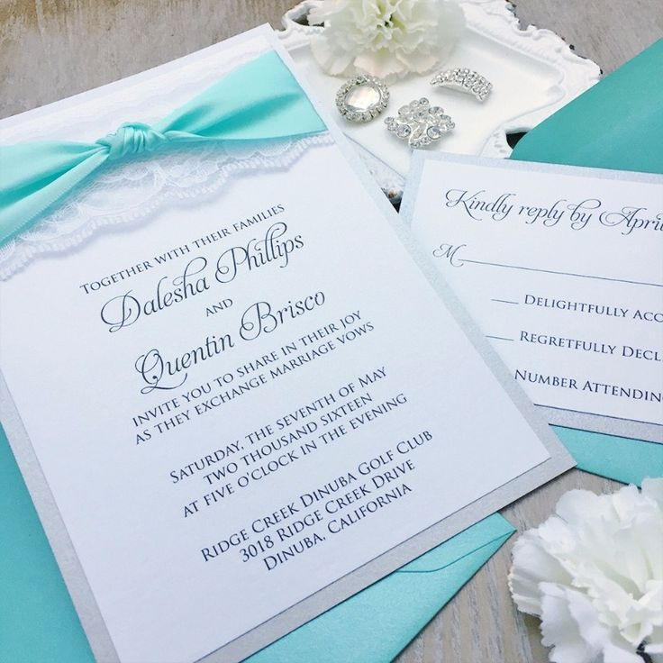 Breakfast at Tiffany's anyone? Loving these tiffany blue & lace wedding invitations & response cards! See more here: http://www.paperlaceboutique.com/