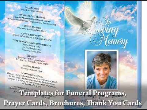 Great video on how to create your own funeral programs by using templates compatible for Microsoft Word, Publisher, or Apple iWork Pages.