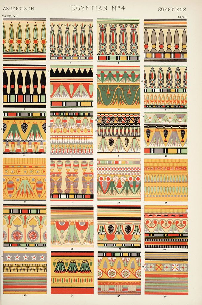 Owen Jones, The grammar of ornament, 1809-1874 (1910)    [Egyptian ornament. Plates 4, 5, 6, 6*, 7, 8, 9, 10, 11],   pp. PL. IV-PL. XI ff.