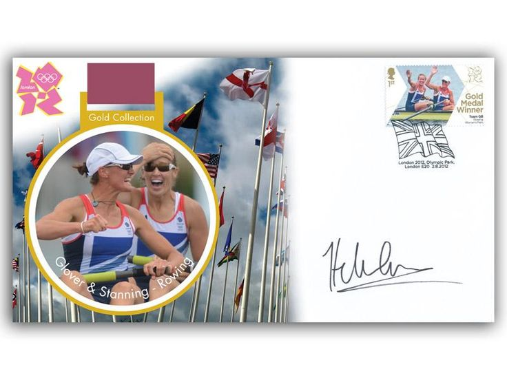 London 2012 Olympic Gold Medal Winners cover. Personally Autographed by Helen Glover. Women's Rowing Pair; Heather Stannning & Helen Glover