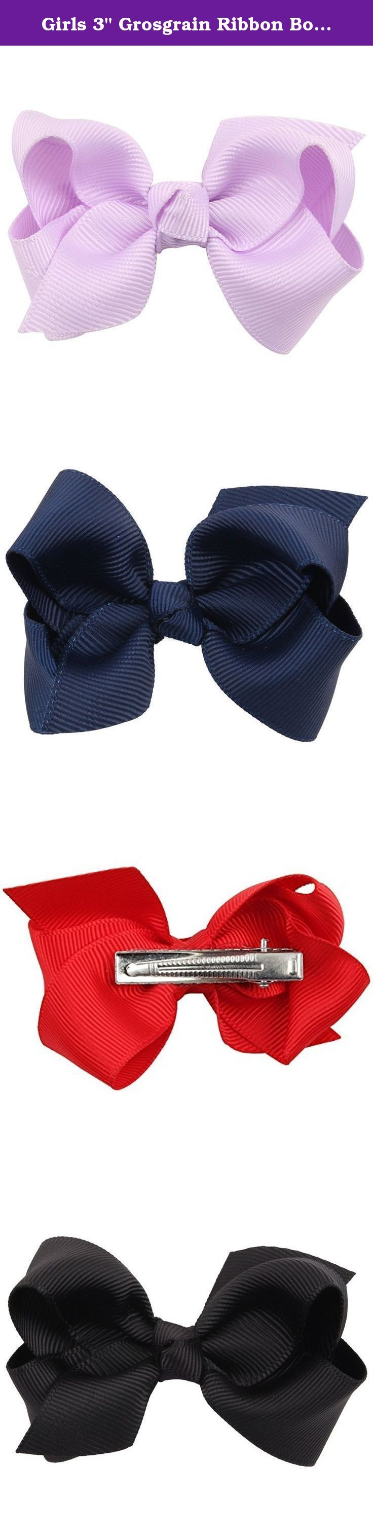 """Girls 3"""" Grosgrain Ribbon Boutique Hair Bows with Alligator Clip - Pack of 20. This pack comes with 20 beautiful solid colored bows, perfect for accenting any outfit! Colors included are: Lilac, Pink, Brown, Navy Blue, Fuchsia, Ivory, Green, White, Beige, Red, Orange, Gray, Yellow, Black, Baby Blue, Purple, Light Blue, Blue, Light Green, Light Pink Because they are handmade, these bows may vary slightly in size. WARNING: CHOKING HAZARD - Small parts, not suitable for children under 3 yrs...."""