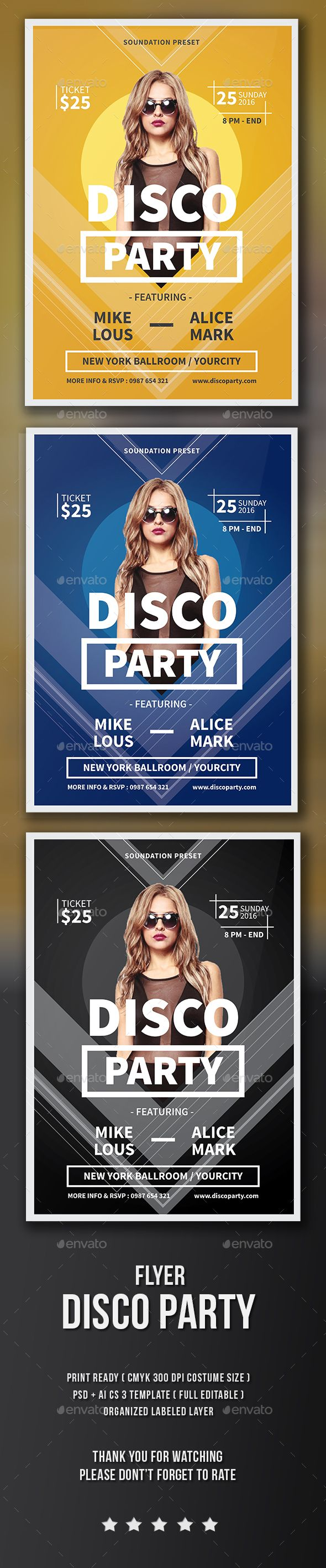 Disco Party Flyer Template PSD, Vector AI. Download here: http://graphicriver.net/item/disco-party-flyer/15491302?ref=ksioks