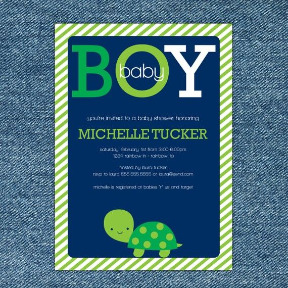 Turtle Baby Shower Invitation Printable - Boy Baby Shower Invite - Navy Blue, Green