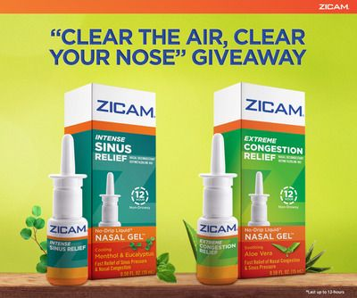 """Check out the Zicam """"Clear the Air, Clear Your Nose"""" Giveaway for your chance to win one of five prize packs! Winners announced every day at noon E.T. from April 1-April 5, 2013."""