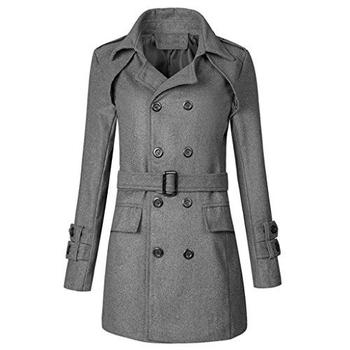 Men Jacket, Gillberry Men Winter Warm Jacket Overcoat Outwear Slim Long Trench Buttons Coat (Grey, S=Asian Size M)
