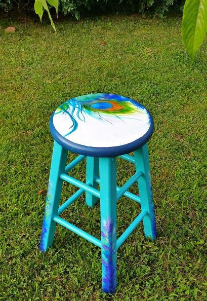 peacock inspired painted stool, chalk paint, painted furniture