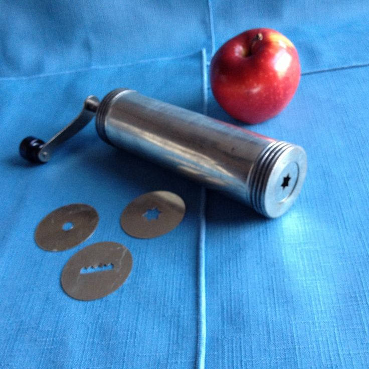 Vintage Cookie Press Made In Sweden, Antique, With Crank Handle And 4 Discs
