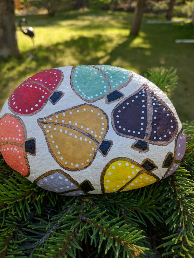 Autumn leaves hand painted on rock! By: Ruth Alicia Richards - Hilling