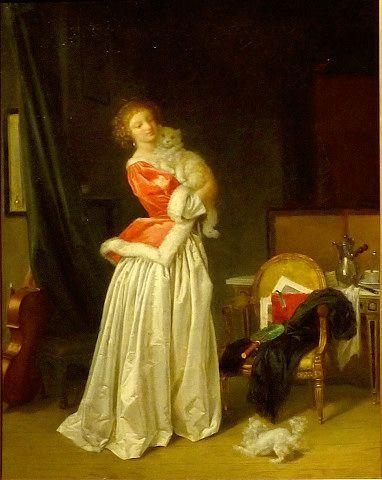 ジェラール「猫の勝利」 プーシキン美術館展  《ジェラール「猫の勝利」(1785年ごろ)》   上品な若い女性の胸に抱かれる猫。足下では小さな犬が、それを妬(ねた)むかのように吠(ほ)えている。犬に対する猫の勝利という、しゃれた画題だ。   ジェラールは、ロココを代表する画家フラゴナールの弟子で義妹でもあった。アカデミックな活動の場が女性には殆(ほとん)どなかった時代に、家庭的な画題で人気に。ペットは、ブルジョア階級の女性たちの日常を描くのに欠かせない題材だった。 http://www.asahi.com/area/aichi/articles/MTW20130513241020011.html