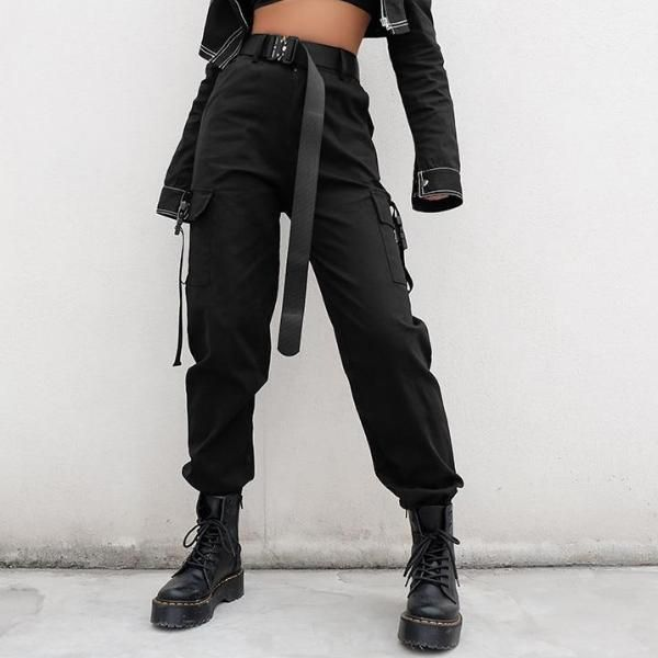 High Waisted Black Nylon Cargo Pants