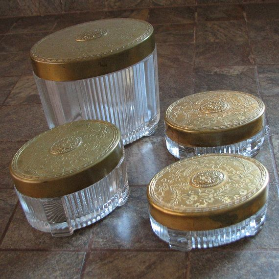 Vintage Vanity Jars Oval Art Deco Glass Repousse Brass