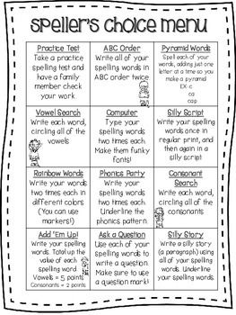 Here's a FREE Speller's Choice Menu that can be used with any spelling list. The kids love it because there's a variety of activities to choose from, and teachers love it because these activities manage to incorporate phonics, grammar, writing AND math!!! :) I just place it in a sheet protector in their take-home binder for them to use with homework every night.