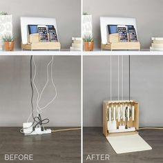 The Ultra Charging Station & Cord Corral Combo brings a simple tech solution to your home. Space to charge three phones, a tablet, and a laptop while hiding cords.