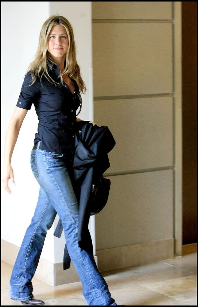 Jennifer Aniston Im sorry but bootcut jeans will always be in style for me.                                                                                                                                                      Plus