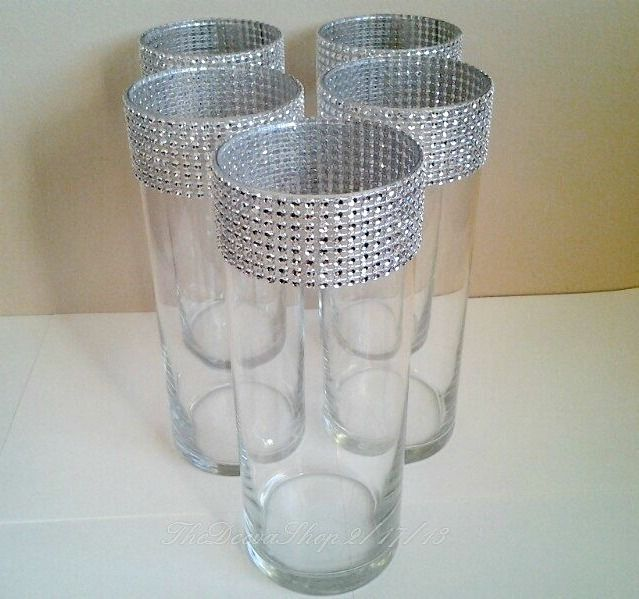 Cylinder Centerpiece Vases Wedding Party SILVER Bling Vase Lot Showers 5 Pc Lot  wedding