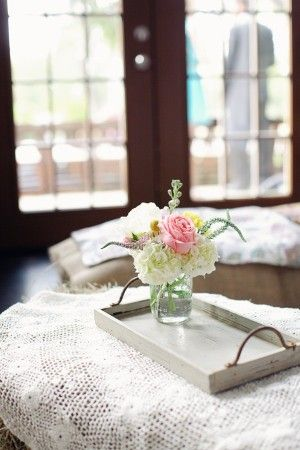 Rustic Wedding Decoration Ideas 3--lace underlayment and my galvanized tray