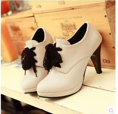 2015 women new fashion spring summer lace bow platform 9.5cm high-heeled pumps thin heels shoes large plus size 40-43