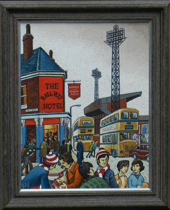 """Bill Kirby, British: An acrylic on artist board """"Saturday Afternoon at Sheffield United"""" together with one other signed watercolour by the same hand """"Durham Miners March"""" Sept 1981"""