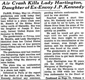 Kathleen Kennedy Plane Crash | May 13 - 1948: Kathleen Kennedy, 28, Marchioness of Hartington, dies ...