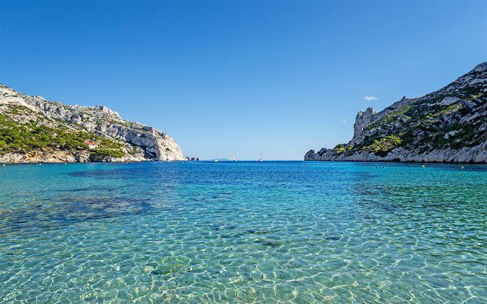 Download wallpapers Marseille, blue bay, yachts, Mediterranean Sea, blue lagoon, coast, summer, seascape, France